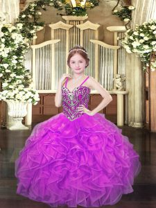 Fantastic Lilac Sleeveless Floor Length Beading and Ruffles Lace Up Pageant Gowns For Girls