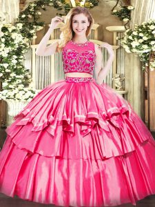 Hot Pink Two Pieces Beading and Ruffled Layers Ball Gown Prom Dress Zipper Tulle Sleeveless Floor Length