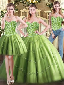 Custom Design Olive Green Sweetheart Lace Up Beading Vestidos de Quinceanera Sleeveless