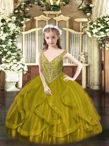 Fantastic Floor Length Olive Green Pageant Dress for Womens Tulle Sleeveless Beading and Ruffles