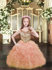 Beading and Ruffles and Pick Ups Pageant Dresses Orange Lace Up Sleeveless Floor Length