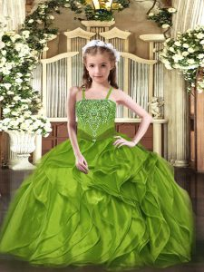 Latest Olive Green Sleeveless Beading and Ruffles Floor Length Winning Pageant Gowns