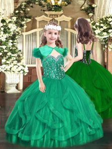High End Turquoise Straps Lace Up Beading and Ruffles Pageant Gowns For Girls Sleeveless