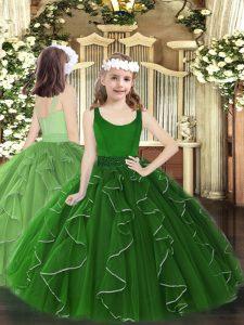 Dark Green Ball Gowns Organza Scoop Sleeveless Beading and Ruffles Floor Length Zipper Pageant Dress for Teens