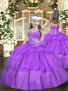 Custom Made Purple Kids Pageant Dress Party and Sweet 16 and Quinceanera and Wedding Party with Beading and Ruffled Layers Straps Sleeveless Lace Up