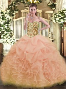 Fantastic Ball Gowns Ball Gown Prom Dress Peach Sweetheart Organza Sleeveless Floor Length Lace Up
