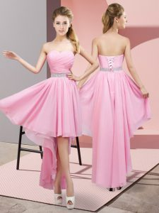 High Low A-line Sleeveless Pink Vestidos de Damas Lace Up