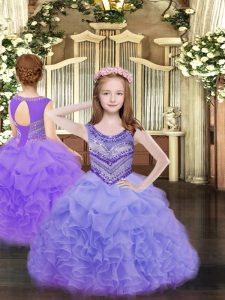 Simple Sleeveless Lace Up Floor Length Beading and Ruffles and Pick Ups Pageant Dress for Girls