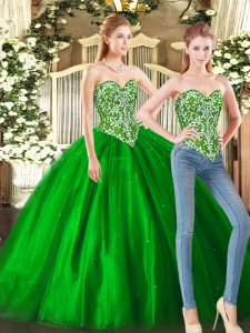 Dramatic Green Sleeveless Floor Length Beading Lace Up Vestidos de Quinceanera