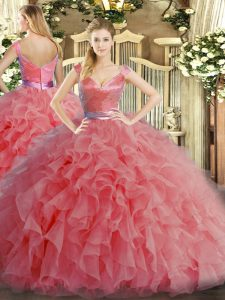 Adorable Sleeveless Floor Length Ruffles Zipper 15th Birthday Dress with Watermelon Red