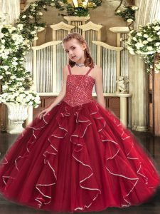 Affordable Red Little Girls Pageant Dress Wholesale Sweet 16 and Quinceanera with Beading and Ruffles Straps Sleeveless Lace Up