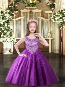 Amazing Lilac Tulle Lace Up Kids Formal Wear Sleeveless Floor Length Beading