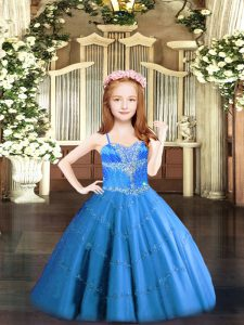 Hot Selling Baby Blue Ball Gowns Spaghetti Straps Sleeveless Tulle Floor Length Lace Up Beading Pageant Dress Toddler