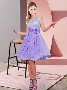 Cute Empire Damas Dress Lavender Scoop Chiffon Sleeveless Knee Length Side Zipper