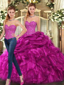 Adorable Fuchsia Sleeveless Beading and Ruffles Floor Length Ball Gown Prom Dress