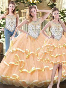 Deluxe Sleeveless Floor Length Beading and Ruffled Layers Zipper Vestidos de Quinceanera with Peach