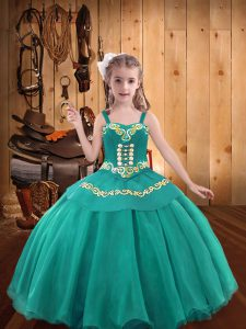 Adorable Teal Winning Pageant Gowns Organza Sleeveless Embroidery and Ruffles