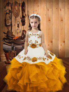 Gold Straps Neckline Embroidery and Ruffles Pageant Dress Womens Sleeveless Lace Up