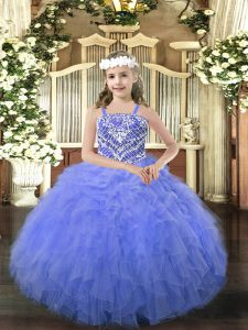 Sleeveless Lace Up Floor Length Beading and Ruffles Pageant Dress for Teens