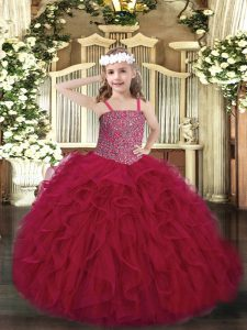 Exquisite Wine Red Ball Gowns Beading and Ruffles Pageant Gowns For Girls Lace Up Tulle Sleeveless Floor Length