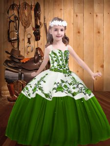 Green Sleeveless Embroidery Floor Length Pageant Dress Toddler