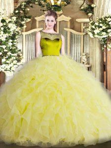 Best Sleeveless Floor Length Beading and Ruffles Zipper Quinceanera Dress with Yellow