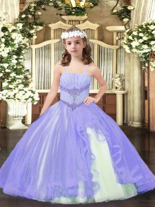 Floor Length Lavender Pageant Dress for Teens Straps Sleeveless Lace Up