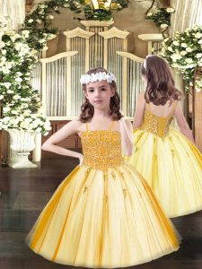 Perfect Floor Length Ball Gowns Sleeveless Orange Kids Pageant Dress Lace Up
