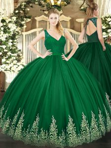 High Class Dark Green Tulle Backless V-neck Sleeveless Floor Length Vestidos de Quinceanera Beading and Lace and Appliques