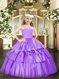 Lavender Zipper Straps Beading and Lace and Ruffled Layers Child Pageant Dress Organza Sleeveless