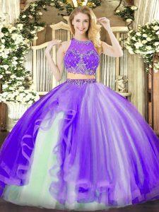 Ideal Sleeveless Beading and Ruffles Zipper Quinceanera Dresses