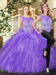 Super Eggplant Purple Sleeveless Beading and Ruffles Floor Length Ball Gown Prom Dress