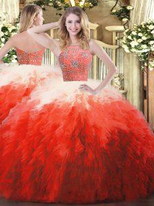 Sleeveless Zipper Floor Length Beading and Ruffles Sweet 16 Quinceanera Dress
