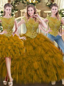 Brown Zipper Quinceanera Gown Beading and Ruffles Sleeveless Floor Length