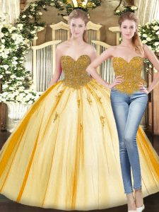 High Class Gold Sleeveless Tulle Lace Up Quinceanera Dresses for Military Ball and Sweet 16 and Quinceanera