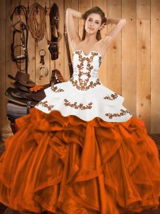 Orange Red Satin and Organza Lace Up Strapless Sleeveless Floor Length Sweet 16 Dresses Embroidery and Ruffles