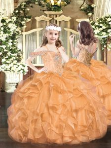 Organza Off The Shoulder Sleeveless Lace Up Beading and Ruffles Pageant Dresses in Orange