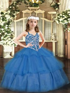 Top Selling Baby Blue Lace Up Glitz Pageant Dress Beading and Ruffled Layers Sleeveless Floor Length