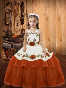 Rust Red Straps Neckline Embroidery and Ruffled Layers Pageant Dress Wholesale Sleeveless Lace Up