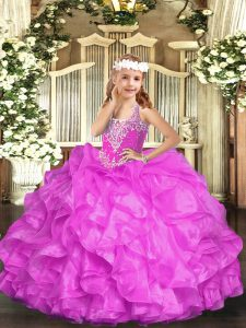 New Arrival Sleeveless Lace Up Floor Length Beading and Ruffles Little Girl Pageant Dress