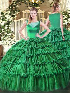 Nice Ball Gowns Sweet 16 Dress Turquoise Scoop Organza Sleeveless Floor Length Side Zipper