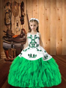 Turquoise Little Girls Pageant Dress Wholesale Sweet 16 and Quinceanera with Embroidery and Ruffles Straps Sleeveless Lace Up