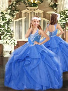 Stunning Floor Length Lace Up Winning Pageant Gowns Blue for Party and Quinceanera with Beading and Ruffles