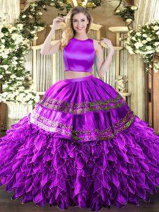 Hot Sale Eggplant Purple Sleeveless Floor Length Ruffles and Sequins Criss Cross 15 Quinceanera Dress