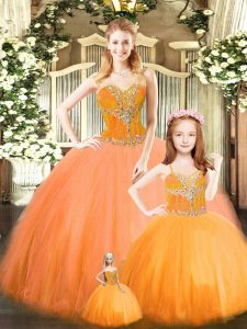 Orange Red Ball Gowns Beading Quinceanera Gown Lace Up Tulle Sleeveless Floor Length