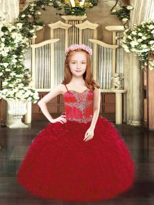 Wine Red Ball Gowns Organza Spaghetti Straps Sleeveless Beading and Ruffles Floor Length Lace Up Pageant Dress Womens