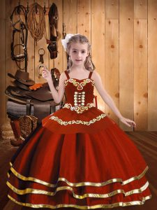 Rust Red Organza Lace Up Straps Sleeveless Floor Length Pageant Gowns Embroidery and Ruffles