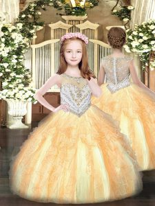 Floor Length Ball Gowns Sleeveless Gold Kids Formal Wear Zipper