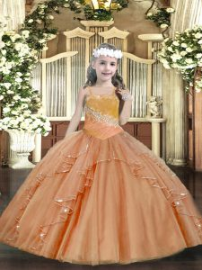 Floor Length Ball Gowns Sleeveless Rust Red Pageant Gowns For Girls Lace Up