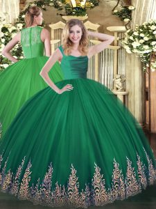 Dark Green Zipper Quinceanera Dresses Lace and Appliques Sleeveless Floor Length